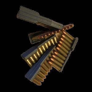 50 Schuss Kaliber .30 Carbine Winchester Munition auf Ladestreifen
