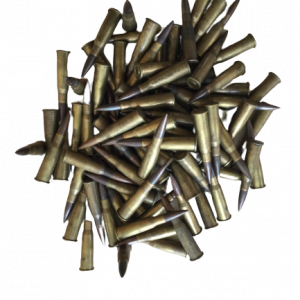 Lose sortierte Militärpatronen im Kaliber 8x50 R Lebel mit Messinghülsen